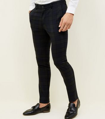 Dark Green Black Watch Check Skinny Trousers