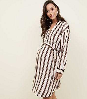 Maternity Off White Stripe Belted Shirt Dress