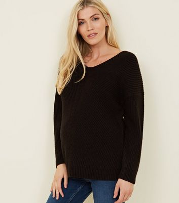 Maternity Black Lattice Back Jumper