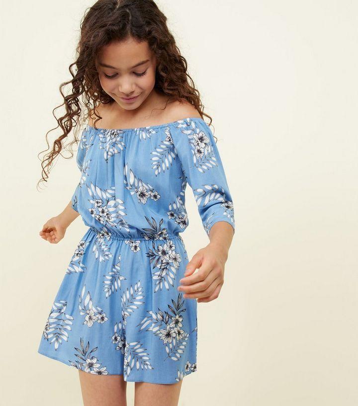 e5b0f9b71454 Girls Blue Floral Bardot Playsuit