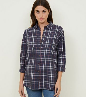 Blue Checked Print Boyfriend Shirt
