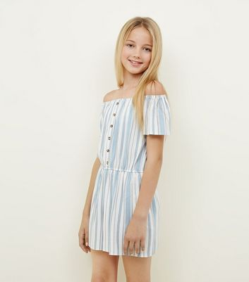 Girls White Stripe Button Front Playsuit