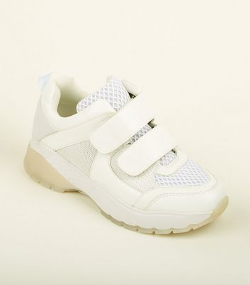 White Limited Edition Strap Front Chunky Trainers
