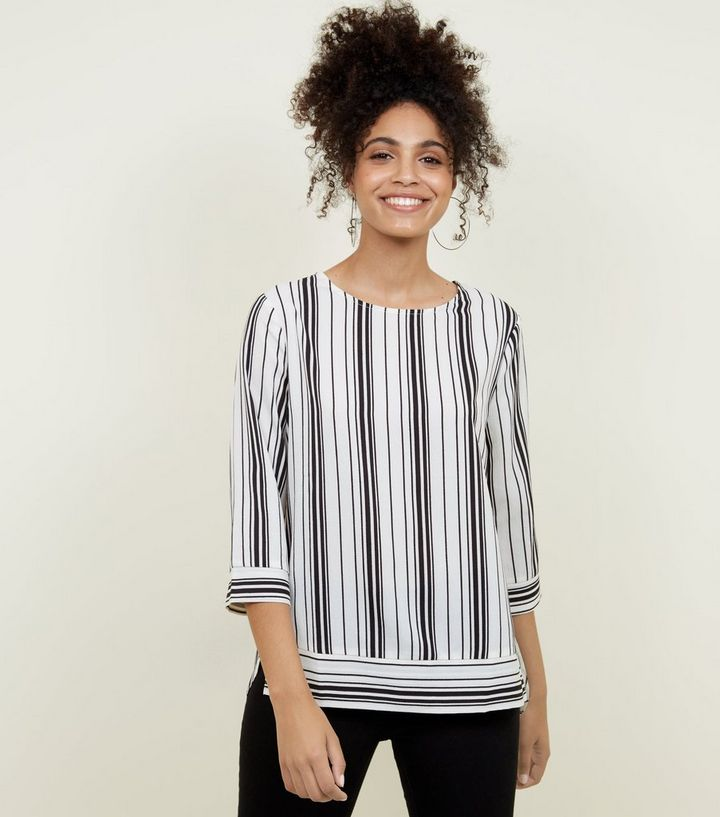 a79cb8548b4 Black Stripe 3 4 Sleeve Top