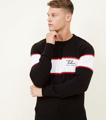 Black Stripe Embroidered Tribeca Logo Jumper