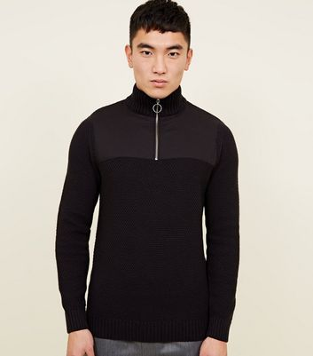 Black Ring Zip Funnel Neck Jumper