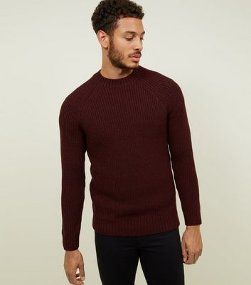 Burgundy Raglan Sleeve Ribbed Jumper