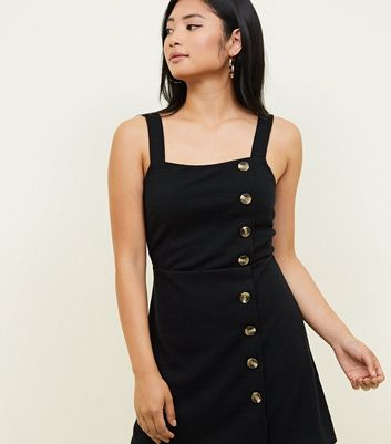 Petite Black Cross Hatch Button Side Pinafore Dress