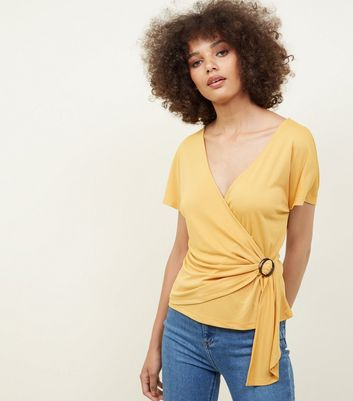 Mustard Buckle Side Wrap Front Top