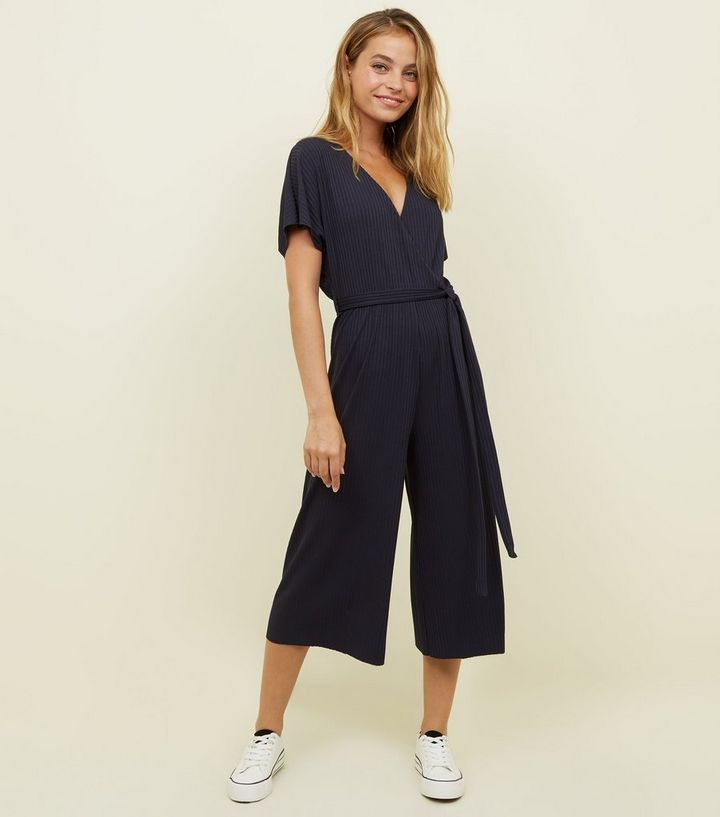 f4f1ce5b2a4 Petite Navy Ribbed Wrap Front Culotte Jumpsuit