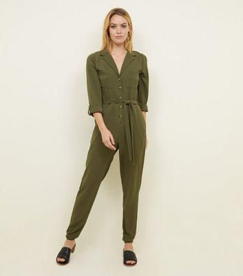 Tall Khaki Button Front Crepe Jumpsuit