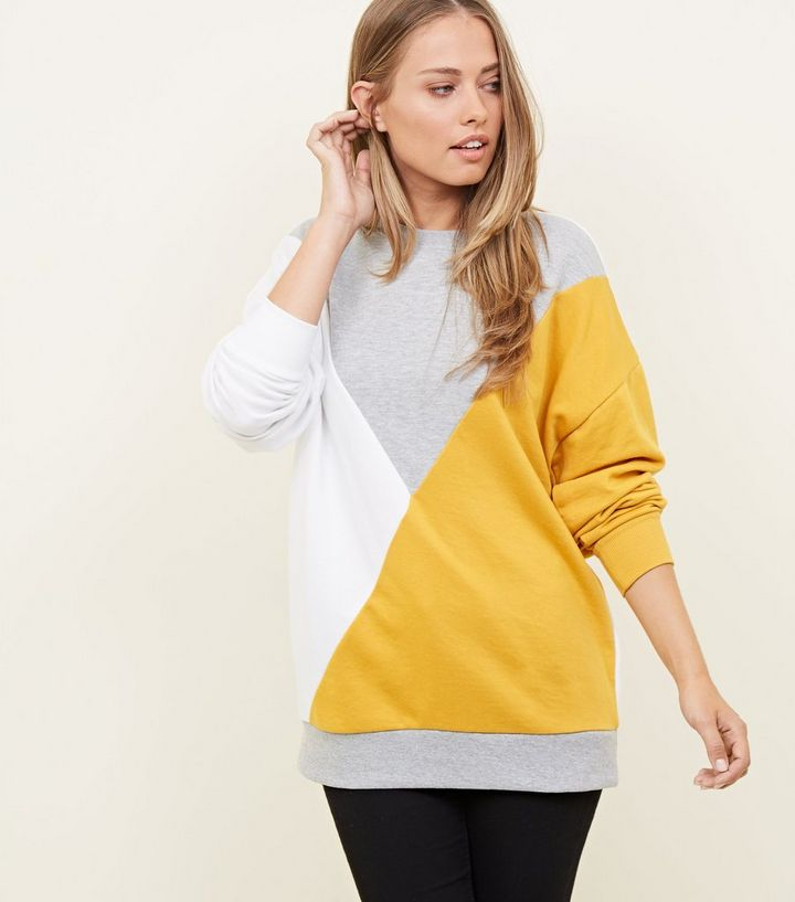 a0e9bb79f26 Tall Yellow Diagonal Colour Block Sweatshirt