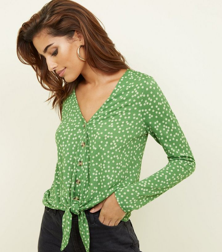 bdfdf93702159 Green Ditsy Floral Button Tie Front Top