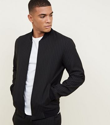Black Pin Stripe Bomber Jacket