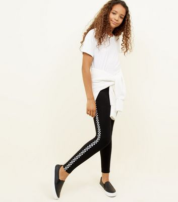 Girls Black Checkered Side Stripe Leggings