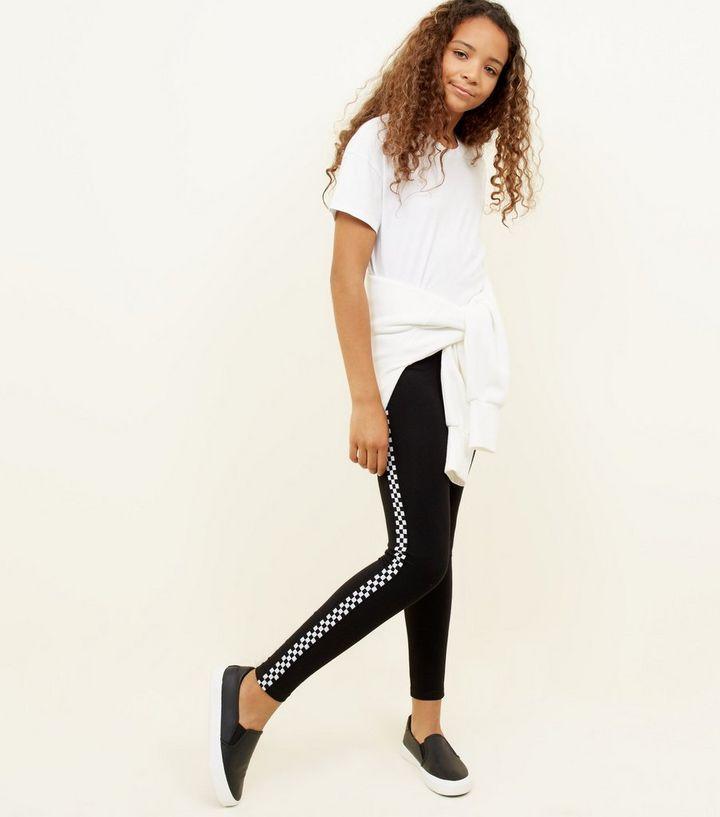 872f05eda0f02 Girls Black Checkered Side Stripe Leggings | New Look