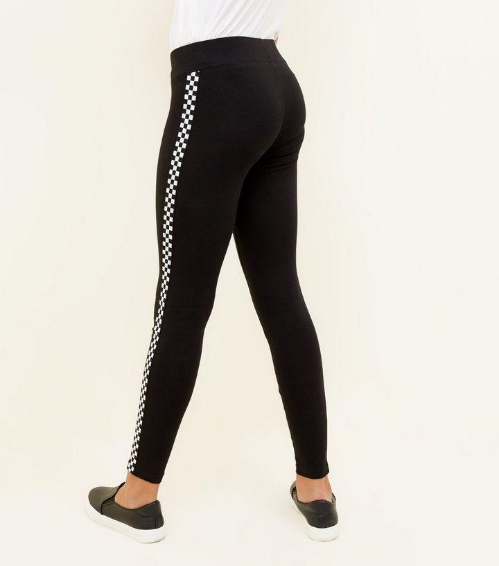 c5fc0e9592b59 ... Girls Black Checkered Side Stripe Leggings. ×. ×. ×. 1