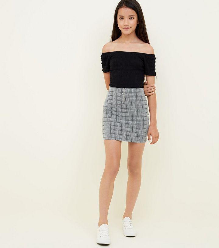 Girls Light Grey Check Zip Front Tube Skirt   New Look