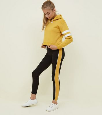 Girls Mustard and Black Side Stripe Leggings