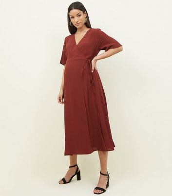 Maternity Rust Midi Wrap Dress