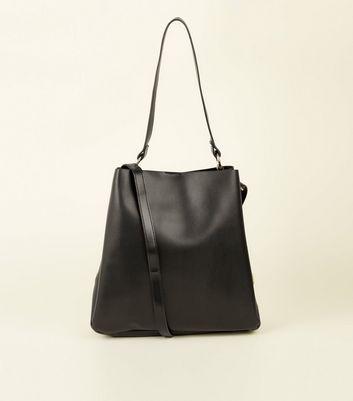 Black Leather-Look Eyelet Side Tote Bag New Look