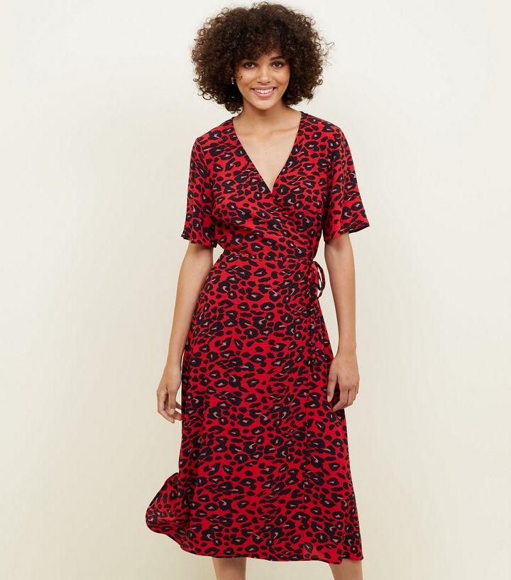 80a37f4020 Red Animal Print Midi Wrap Dress