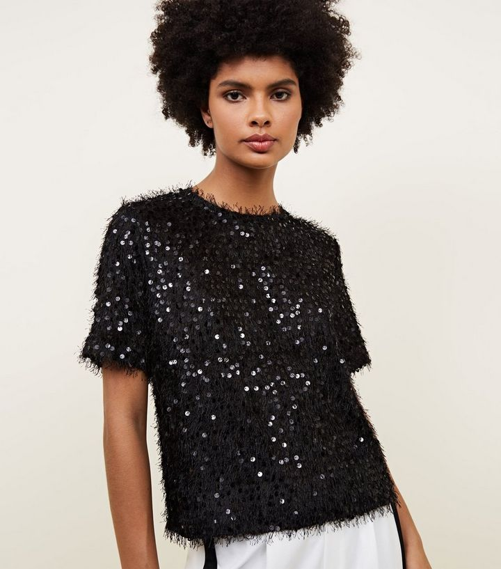 249b8cedfe20 Black Faux Feather and Sequin T-Shirt | New Look