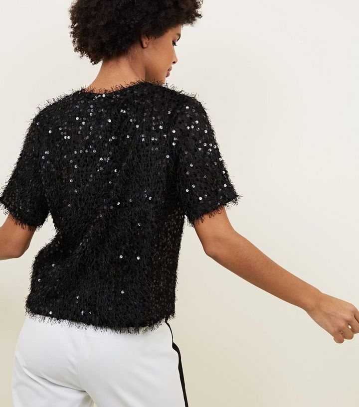 41e1585113ad ... Black Faux Feather and Sequin T-Shirt. ×. ×. ×. Shop the look