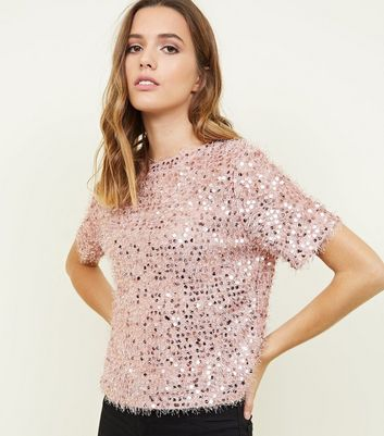 Pale Pink Eyelash Knit Sequin Top