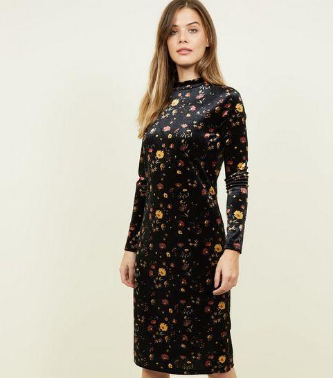 6dc33ba1fa3bc ... JDY - Robe mi-longue noire en velours à imprimé floral ...