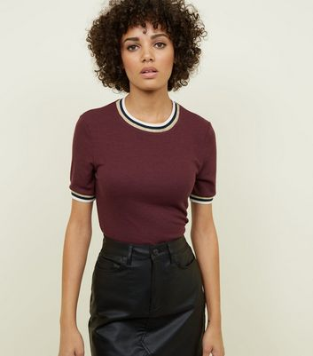 Burgundy Ribbed Tipped 1/2 Sleeve T-Shirt