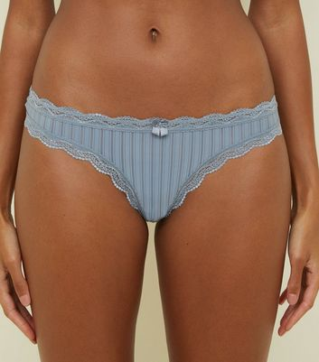 Pale Blue Mesh Stripe Thong