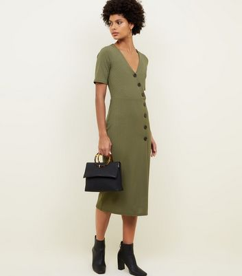 Khaki Ribbed Button Wrap Midi Dress