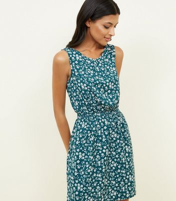 Green Floral Ditsy Print Shirred Waist Dress