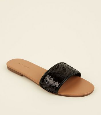 Black Sequin Strap Sliders
