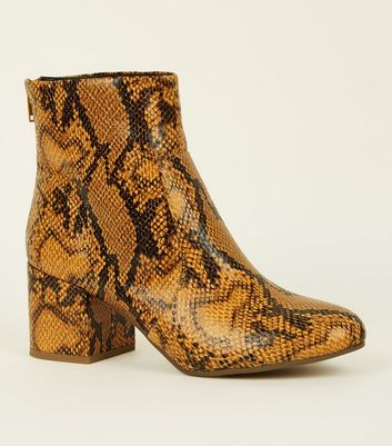 Mustard Faux Snakeskin Ankle Boots
