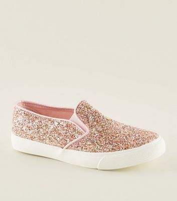 Girls Pink Glitter Slip On Trainers