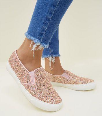 glitter slip on shoes girls