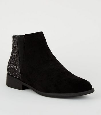 Girls Black Glitter Panel Ankle Boots by New Look