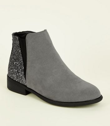 Girls Grey Glitter Panel Ankle Boots