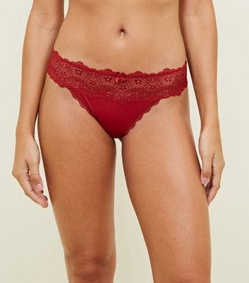 Dark Red Lace Waist Thong