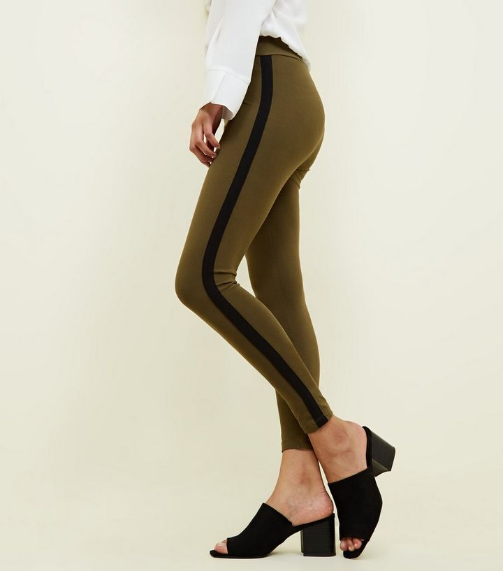 Legging kaki à rayures latérales  1759ca84765
