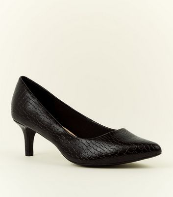 Wide Fit Black Comfort Flex Faux Croc Courts