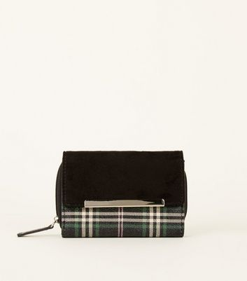 Back Suedette Check Fold-Over Purse