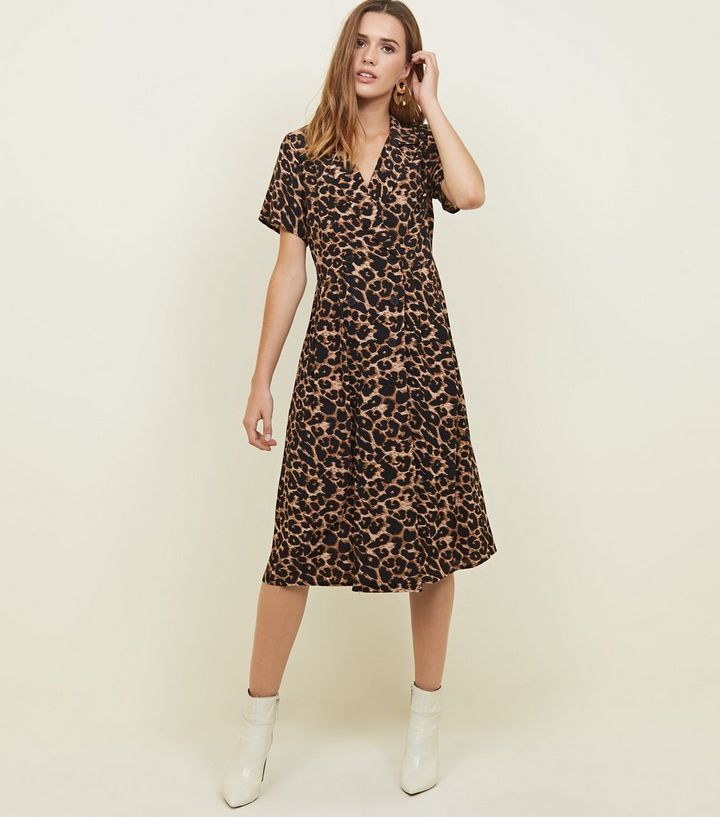 79fe489e9d671 Brown Leopard Print Double Breasted Revere Midi Dress