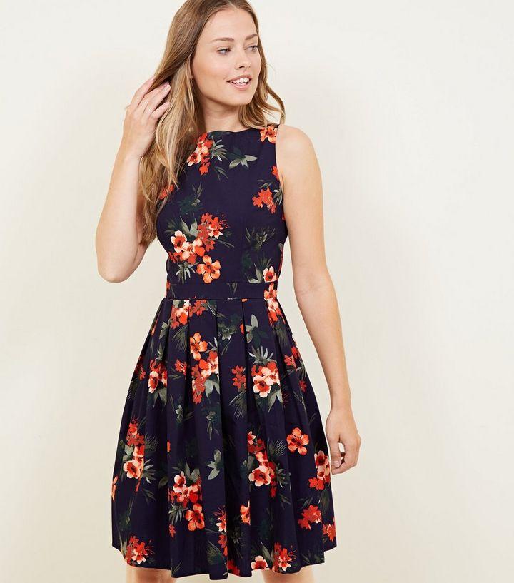 95d02b2d819 Apricot Navy Floral Tie Back Skater Dress | New Look