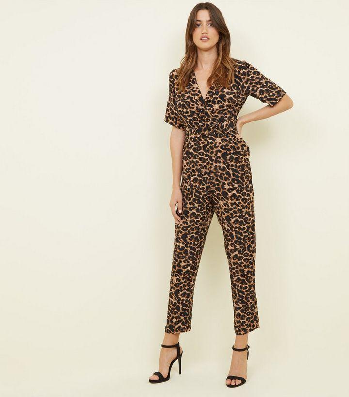 44041c50134 Brown Leopard Print Revere Collar Wrap Jumpsuit