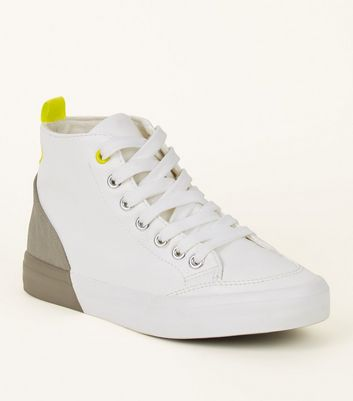 White Colour Block High-Top Trainers