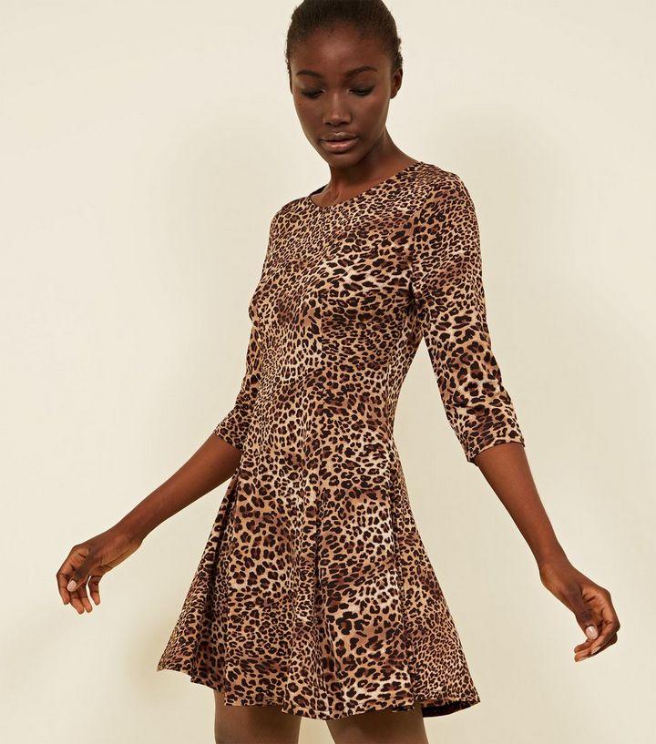 Pink Vanilla Brown Leopard Print Dress  cdd6b84e0