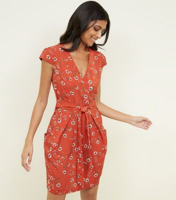 Blue Vanilla Rust Floral Tie Tulip Dress